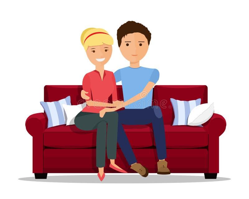 爱恋的夫妇坐长沙发 平的样式传染媒介例证 向量例证