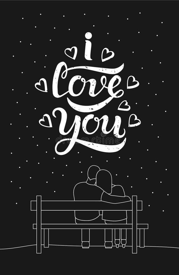 爱恋的夫妇我爱你标题浪漫剪影  库存例证