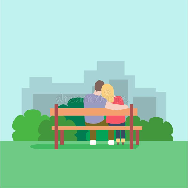 爱恋的夫妇浪漫剪影坐一条长凳在公园 皇族释放例证