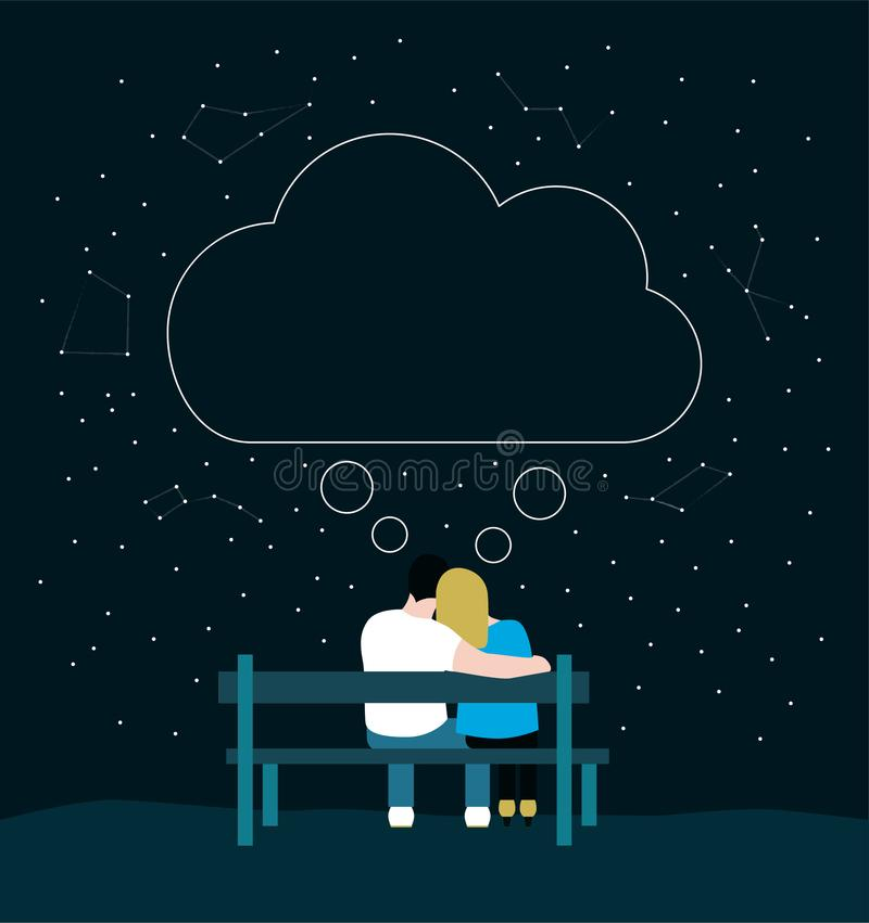 爱恋的夫妇浪漫剪影坐长凳和认为 向量例证