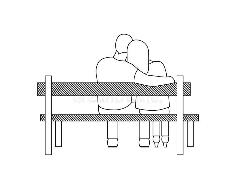 爱恋的夫妇浪漫剪影坐长凳 库存例证