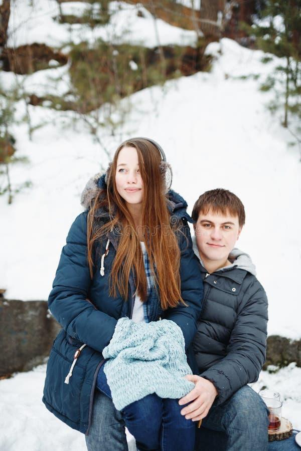爱恋的夫妇获得乐趣户外在冬天 库存照片