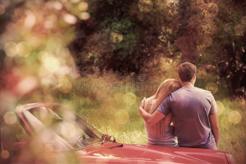 爱恋的夫妇赞赏的自然,当倾斜在他们的敞蓬车时 向量例证