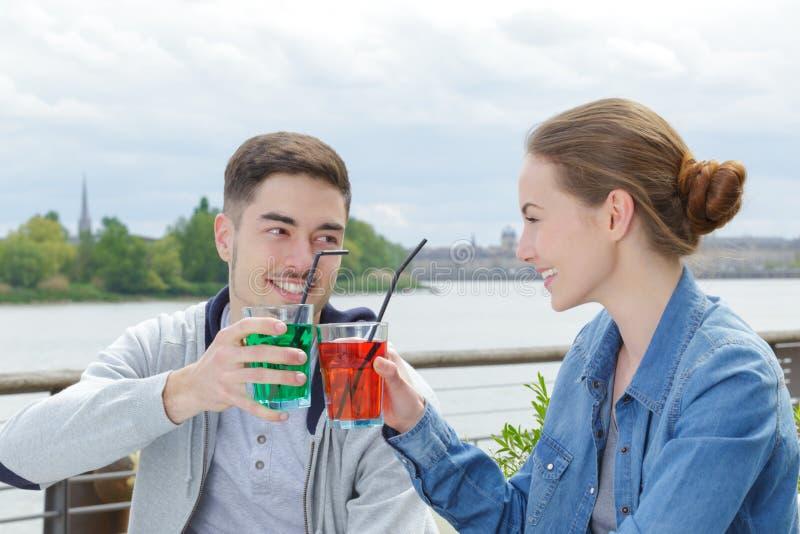 爱恋的夫妇饮用的酒和谈话在野餐 免版税库存照片