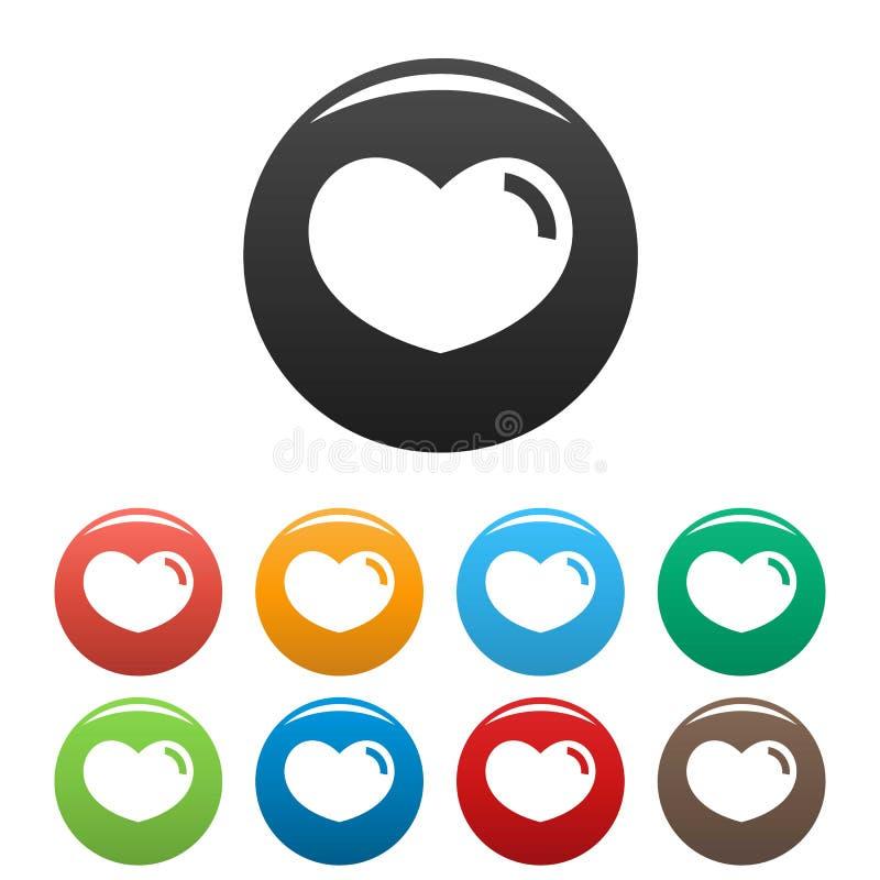 爱恋的心脏象被设置的颜色传染媒介 库存例证