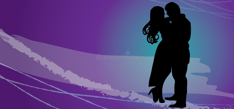 爱恋的愉快的夫妇 传染媒介剪影-在爱eps的夫妇 库存例证