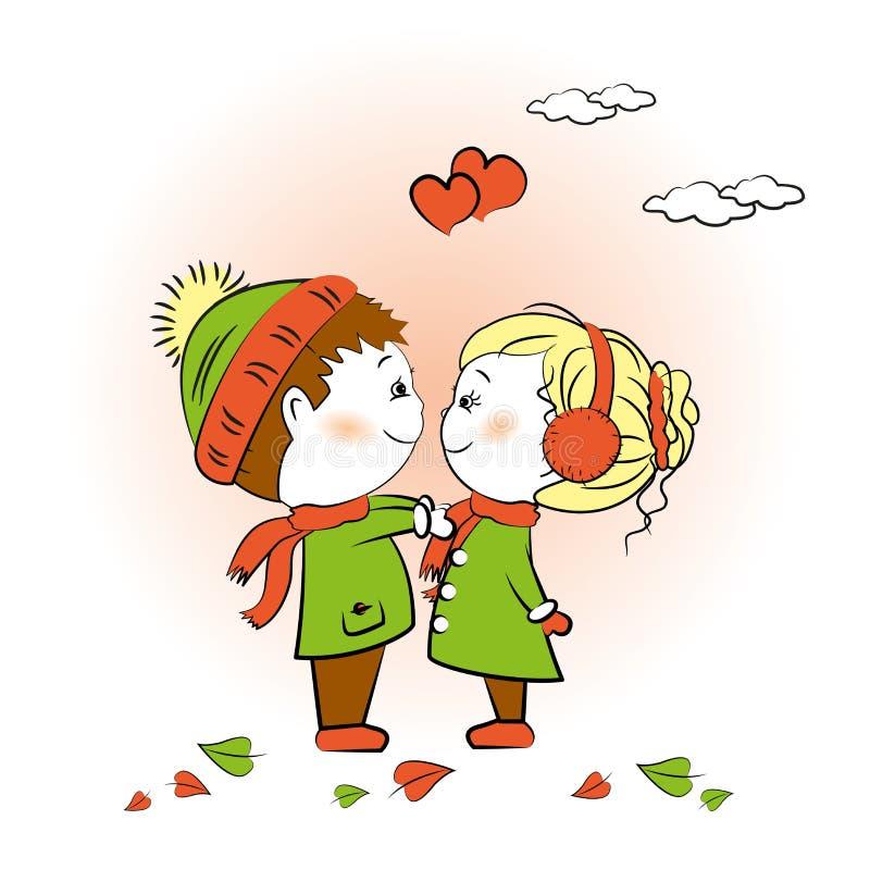 爱恋的站立男孩和的女孩面对面, Valentine& x27; s天招呼 向量例证