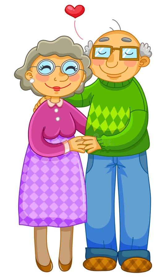 爱恋的老夫妇 向量例证