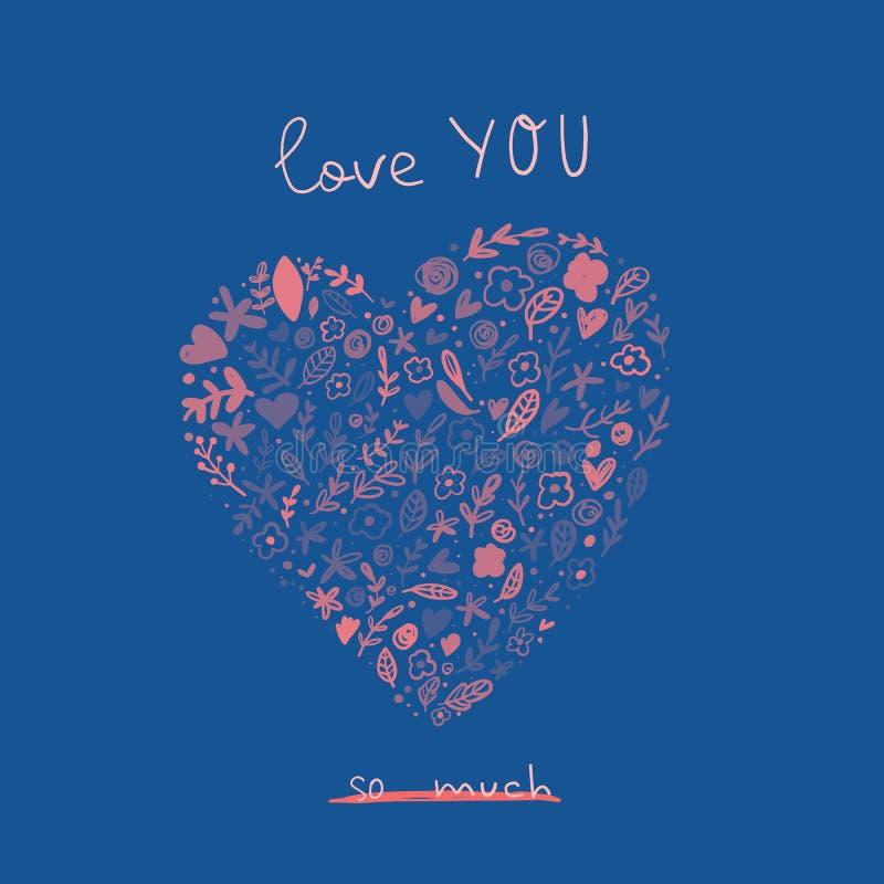 爱您与逗人喜爱的动画片心脏的贺卡 情人节爱海报概念 皇族释放例证