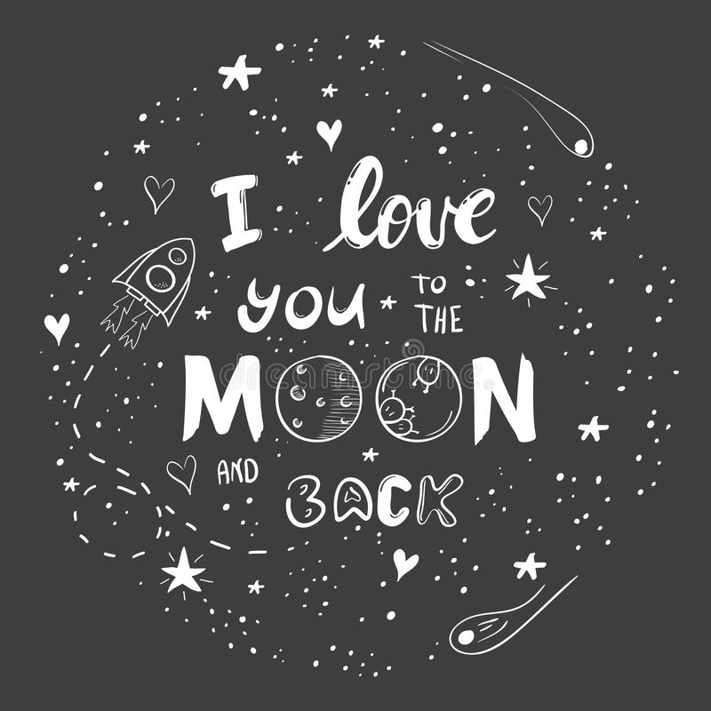 爱您到月亮和后面 皇族释放例证