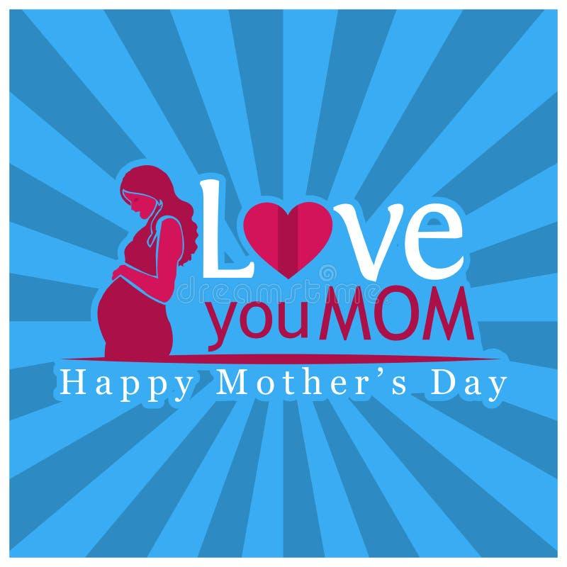 爱您妈妈 国际妇女` s天 日愉快的母亲s 也corel凹道例证向量 库存例证