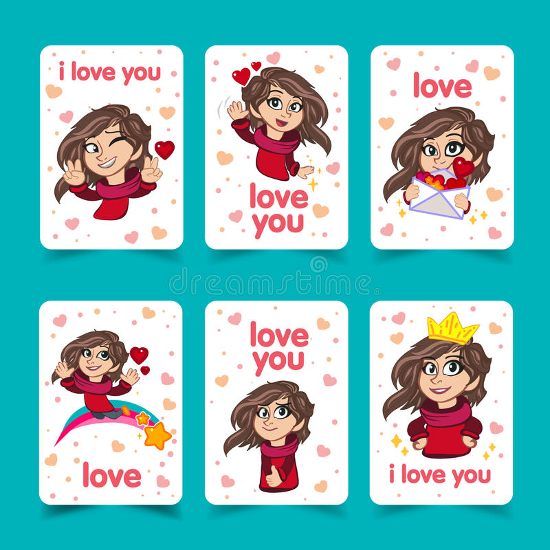 爱您少女T恤杉印刷品设计的字法模板 华伦泰s天贺卡 字符逗人喜爱的女孩 向量例证