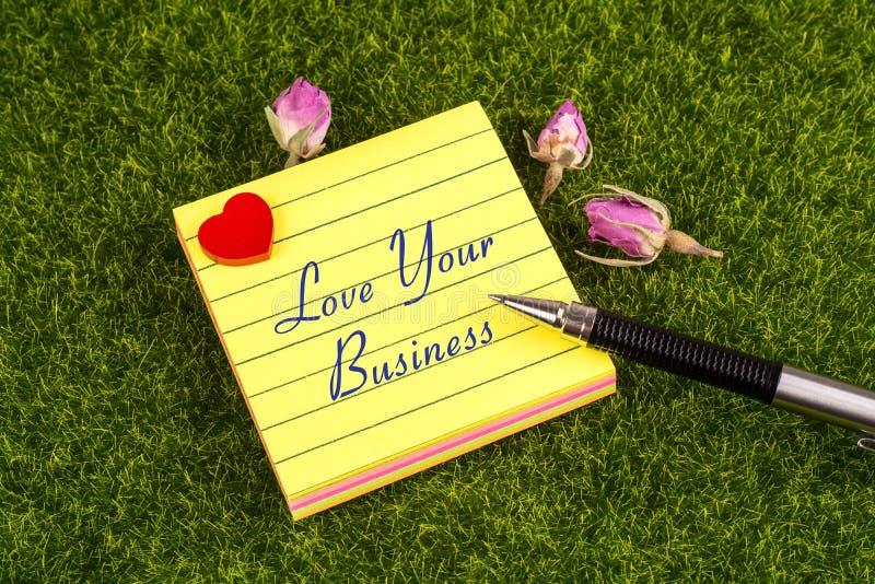 爱您的企业笔记 免版税库存图片