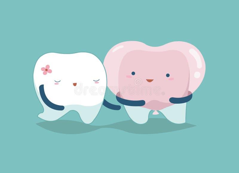 爱您的牙,牙齿概念 向量例证