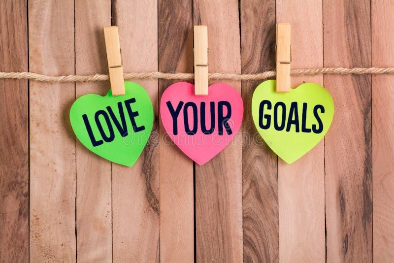 爱您的目标心形的笔记 库存照片