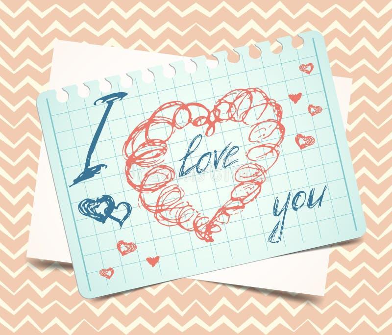 爱您词和心脏标志,绘与红色 库存例证