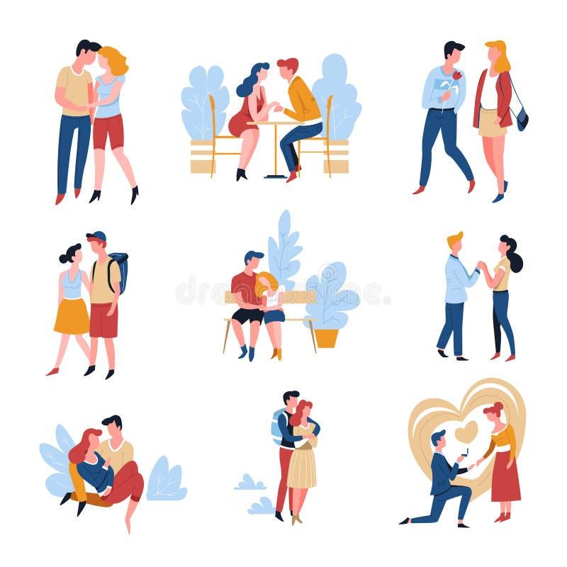 爱情故事约会夫妇关系和婚姻日期 向量例证