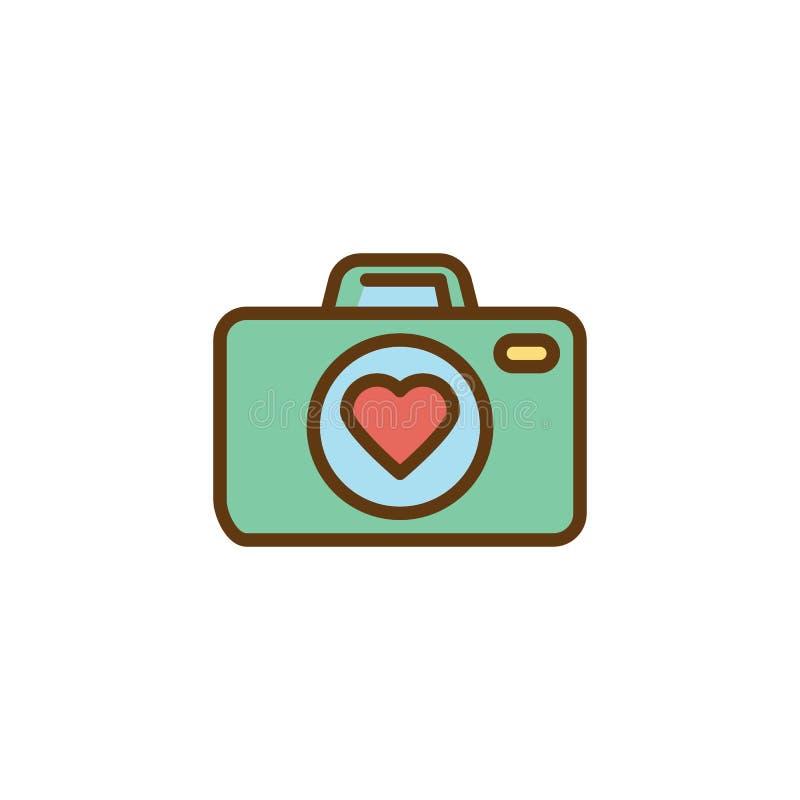 爱情故事,照片照相机平的象 库存例证