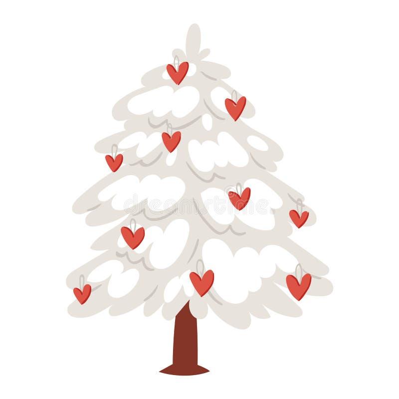 爱护树木圣诞节新年传染媒介心脏象装饰品星xmas礼物设计假日情人节庆祝冬天 向量例证