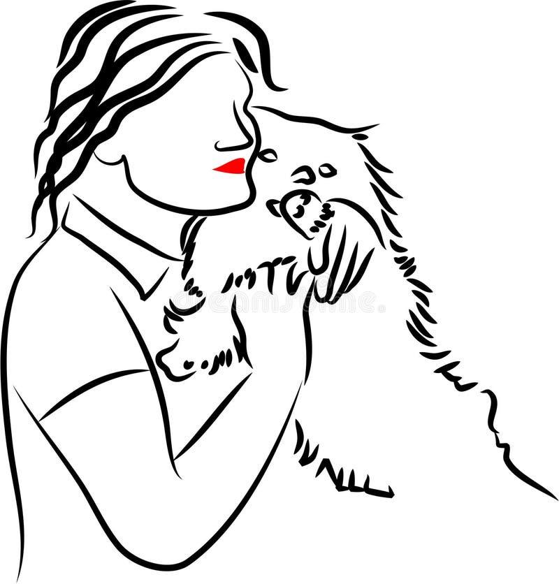 爱拥抱狗 向量例证