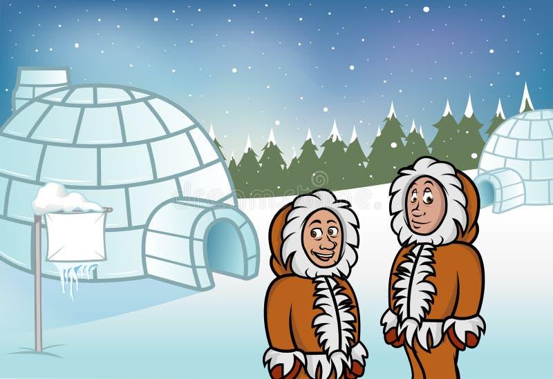 爱斯基摩园屋顶的小屋 向量例证