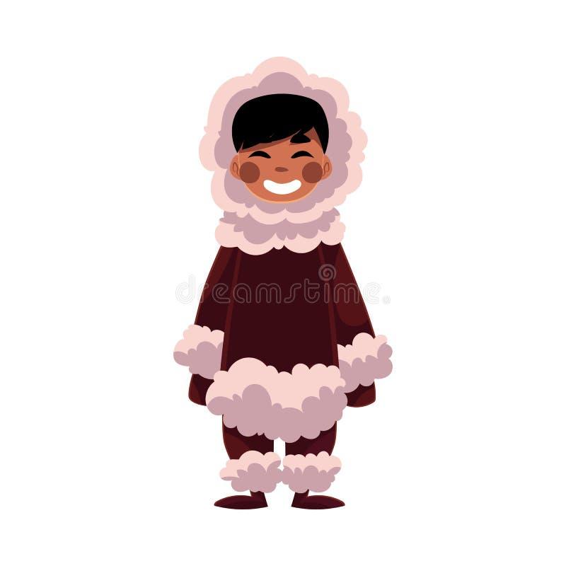 爱斯基摩,因纽特人黑发男孩在羊皮温暖的冬天穿衣 皇族释放例证