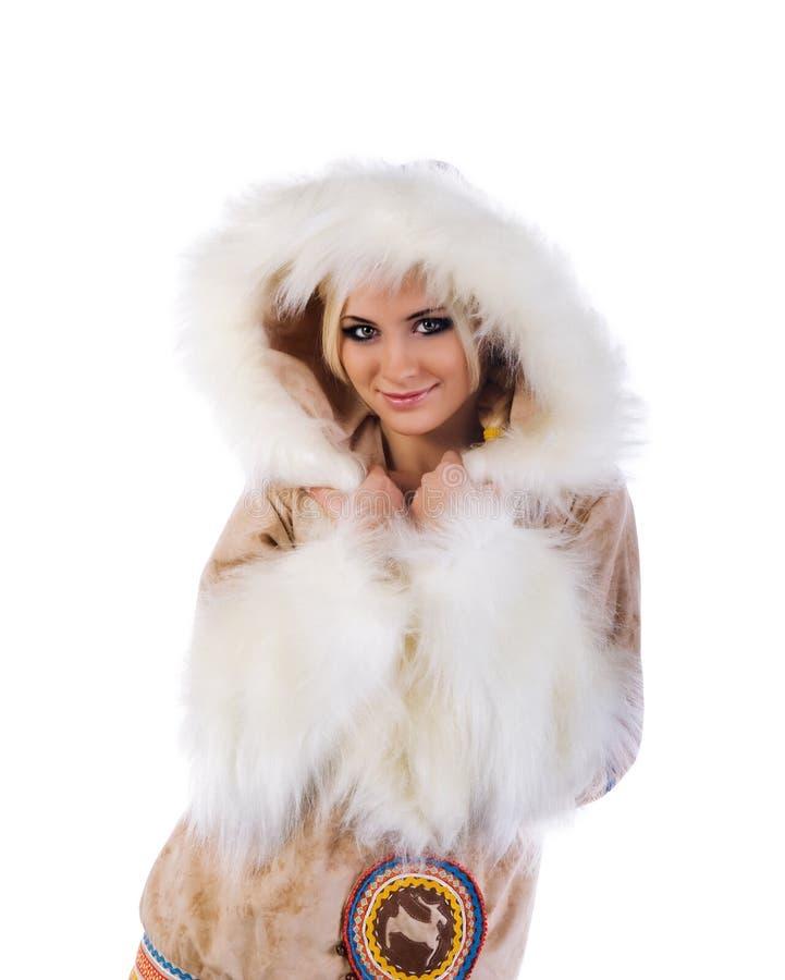 爱斯基摩-阿留申语查出的俏丽的妇女 免版税库存图片