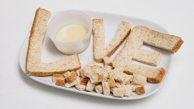 爱早餐用swe创造从全麦面包服务的想法 免版税库存照片