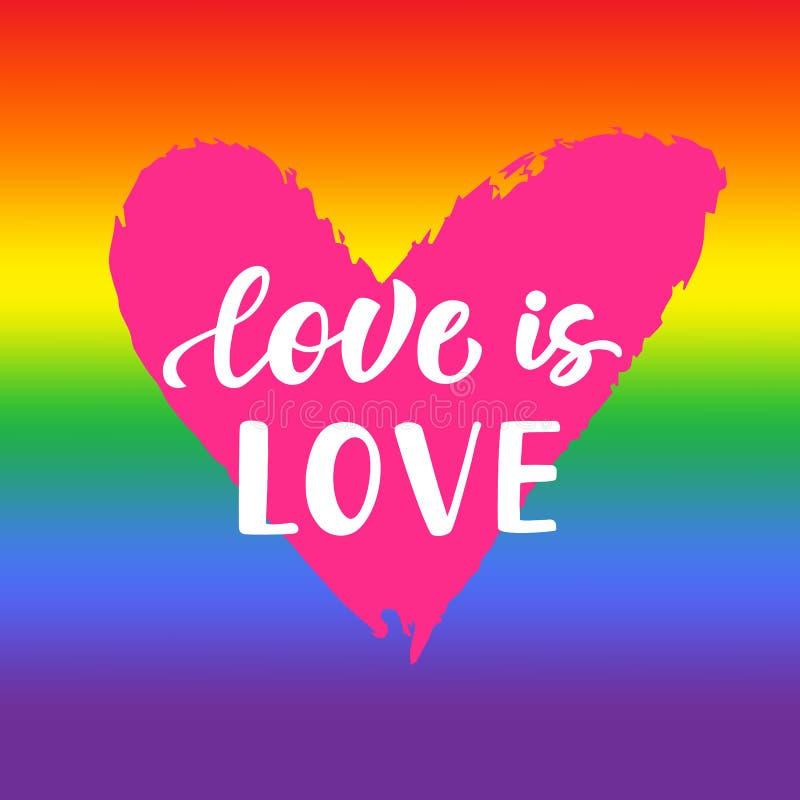 爱是爱 与彩虹光谱旗子,心脏形状,刷子字法的激动人心的同性恋自豪日海报 皇族释放例证