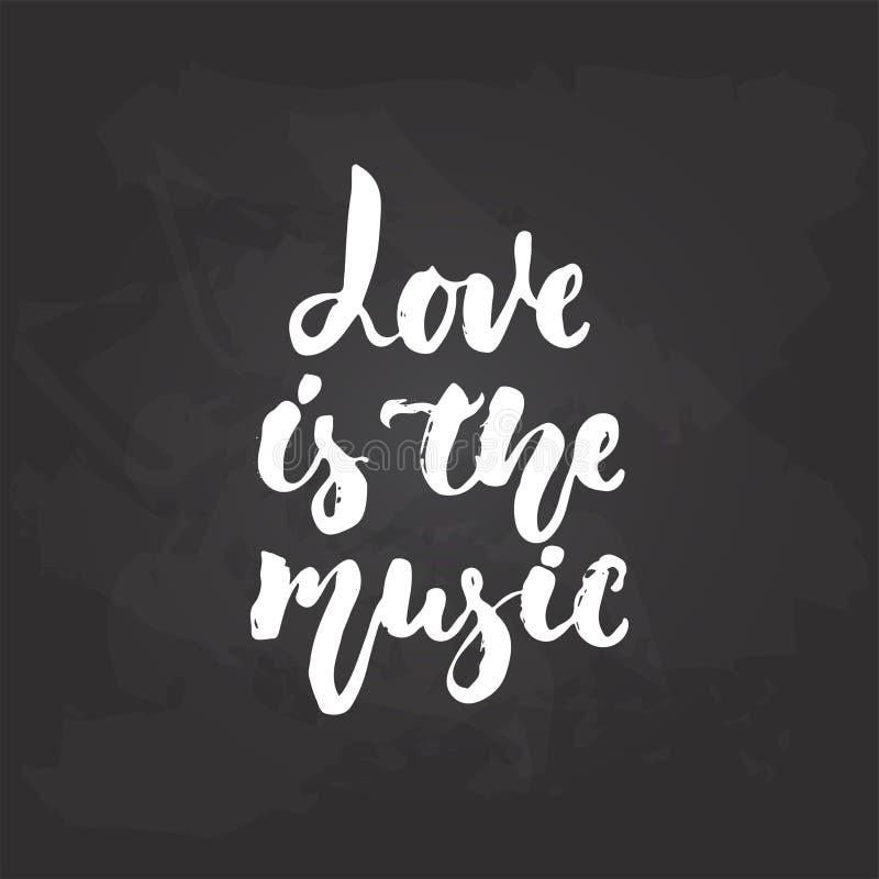 爱是音乐-在黑黑板背景隔绝的手拉的音乐字法词组 乐趣刷子白垩 向量例证