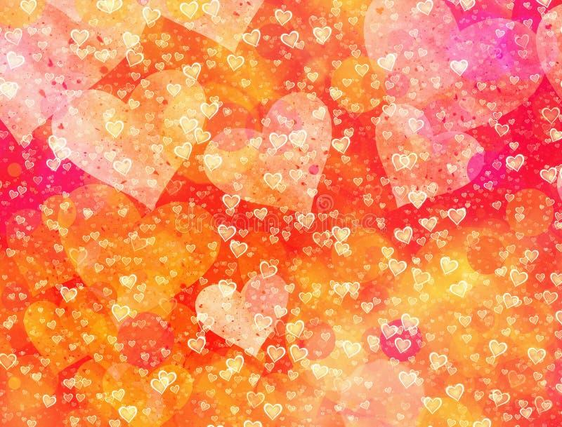 爱标志的多彩多姿的心脏背景 皇族释放例证