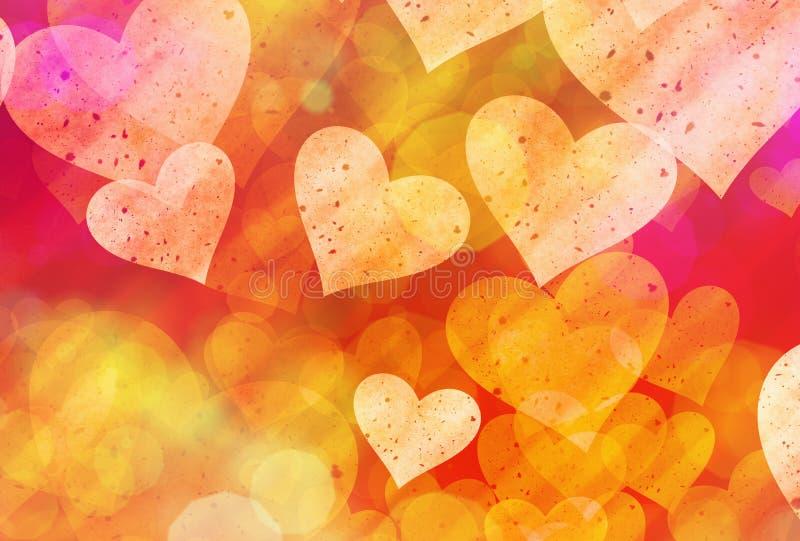爱标志的多彩多姿的心脏背景 向量例证
