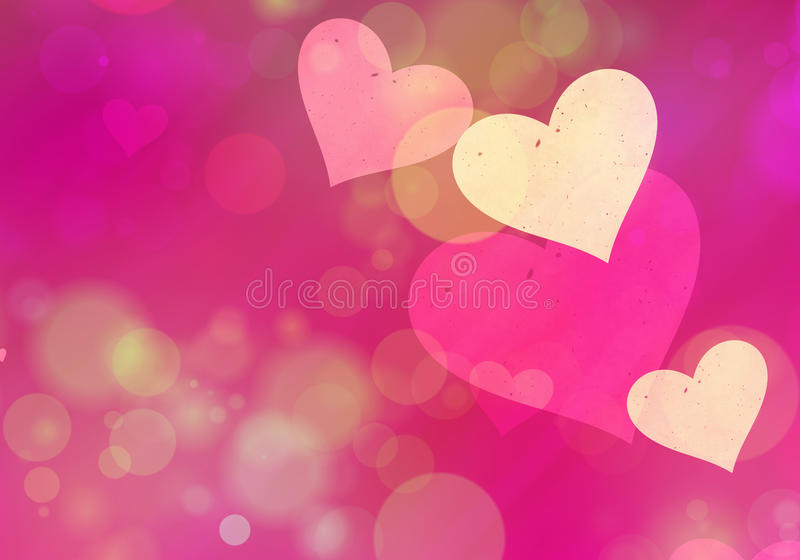 爱标志的多彩多姿的心脏bokeh背景 向量例证
