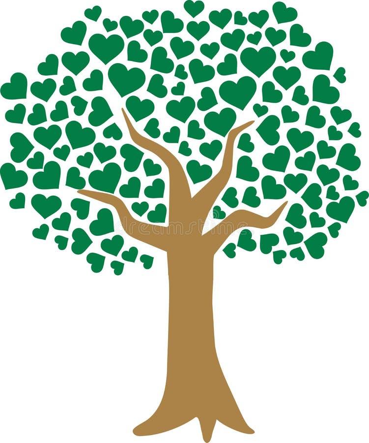 爱树与心形的叶子的 皇族释放例证