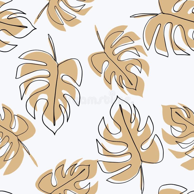 爱树木的人植物 Monstera留下无缝的样式 在最小的线性样式的背景 抽象现代印刷品 现代时髦gra 向量例证