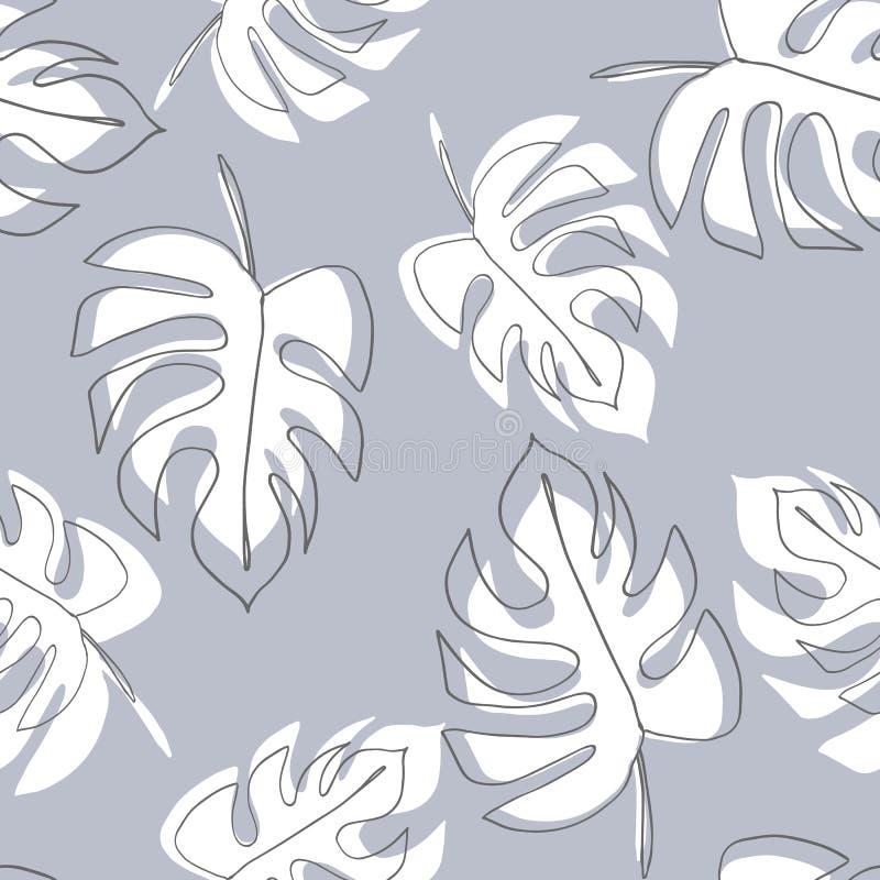 爱树木的人植物 Monstera留下无缝的样式 在最小的线性样式的背景 抽象现代印刷品 现代时髦gra 库存例证