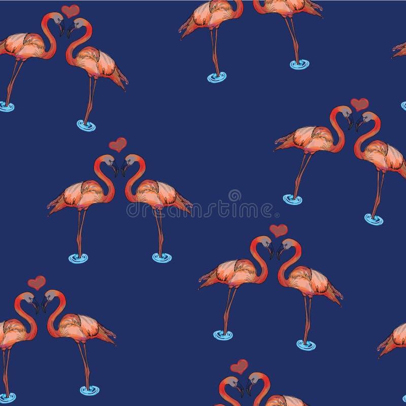 爱桃红色火鸟的例证在水中 免版税库存照片