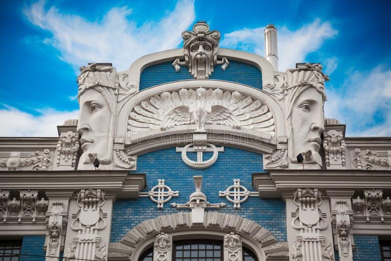 爱森斯坦的艺术Nouveau大厦的片段 库存照片