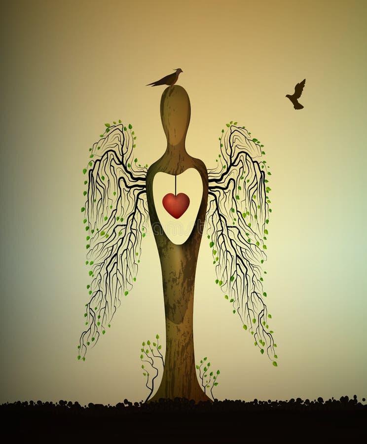 爱森林概念,森林灵魂,树看起来与鸟的天使,并且里面红色心脏,爱树概念,树 库存例证