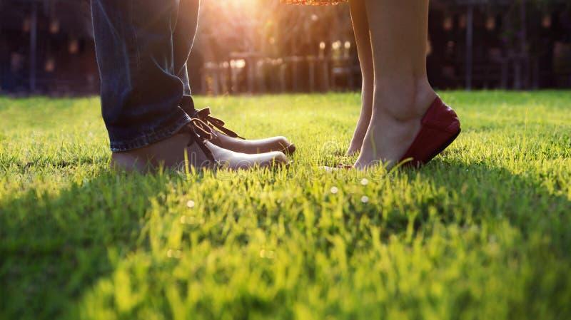 爱概念,亲吻在公园的夫妇的低部分 日落 库存图片