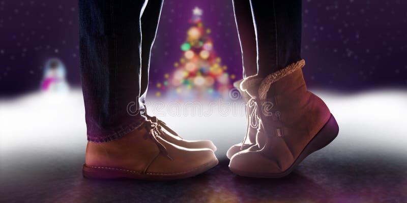 爱概念,亲吻在冬天浪漫C的夫妇的低部分 免版税图库摄影