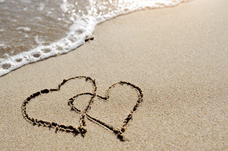 爱概念-在海滩沙子画的两心脏 库存图片