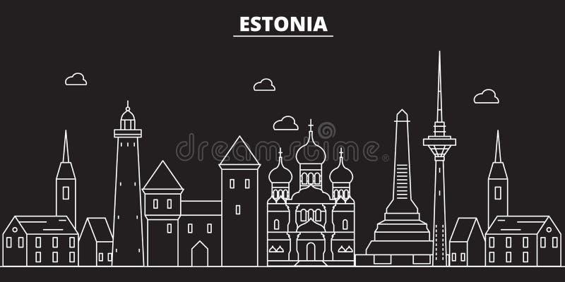 爱沙尼亚剪影地平线 爱沙尼亚传染媒介城市,爱沙尼亚语线性建筑学, buildingline旅行例证 向量例证