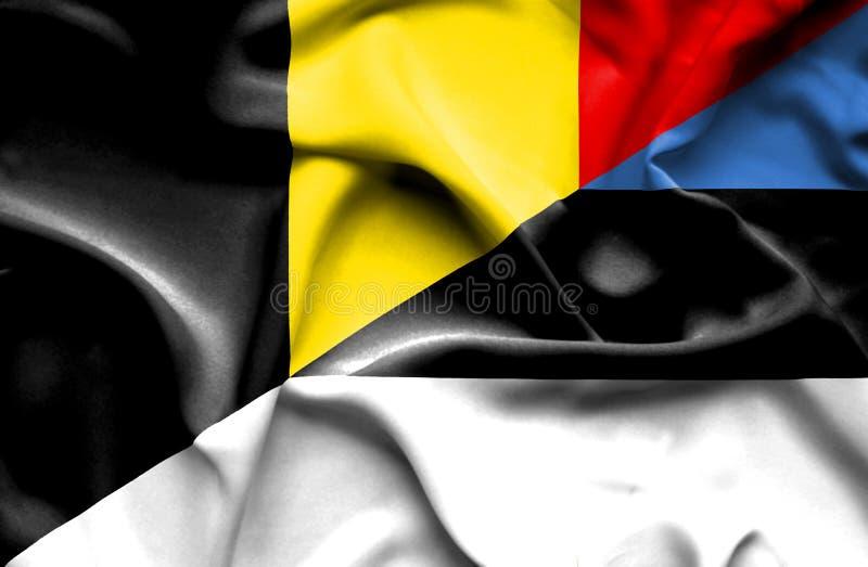 爱沙尼亚和比利时的挥动的旗子 皇族释放例证