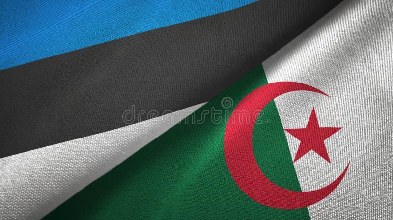 爱沙尼亚和阿尔及利亚两旗子纺织品布料,织品纹理 皇族释放例证
