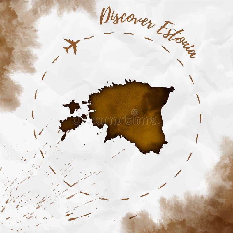 爱沙尼亚在乌贼属颜色的水彩地图 库存例证