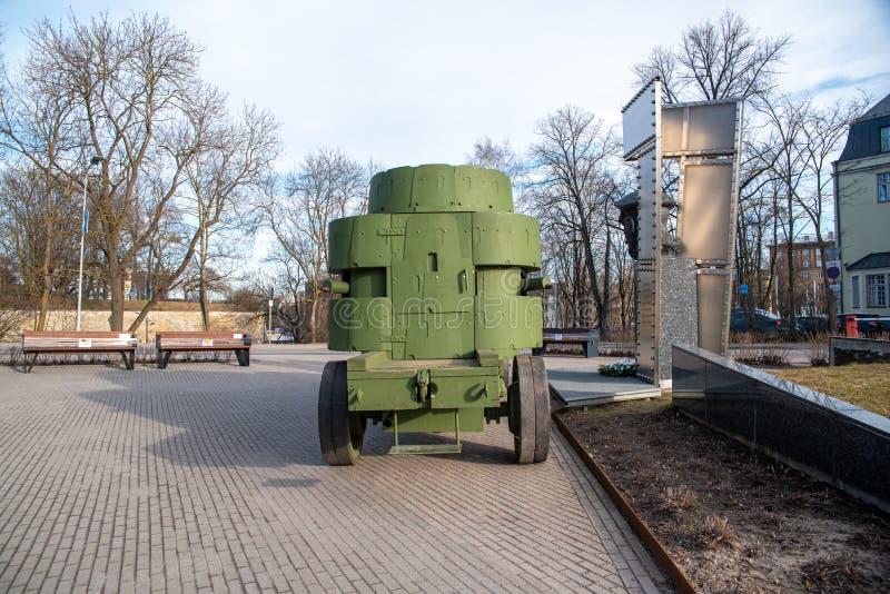 爱沙尼亚塔林座堂山,第一辆防弹车 免版税图库摄影