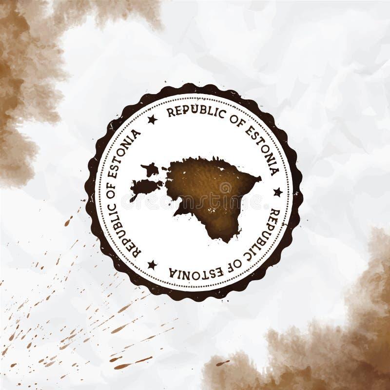 爱沙尼亚水彩圆的不加考虑表赞同的人与 库存例证