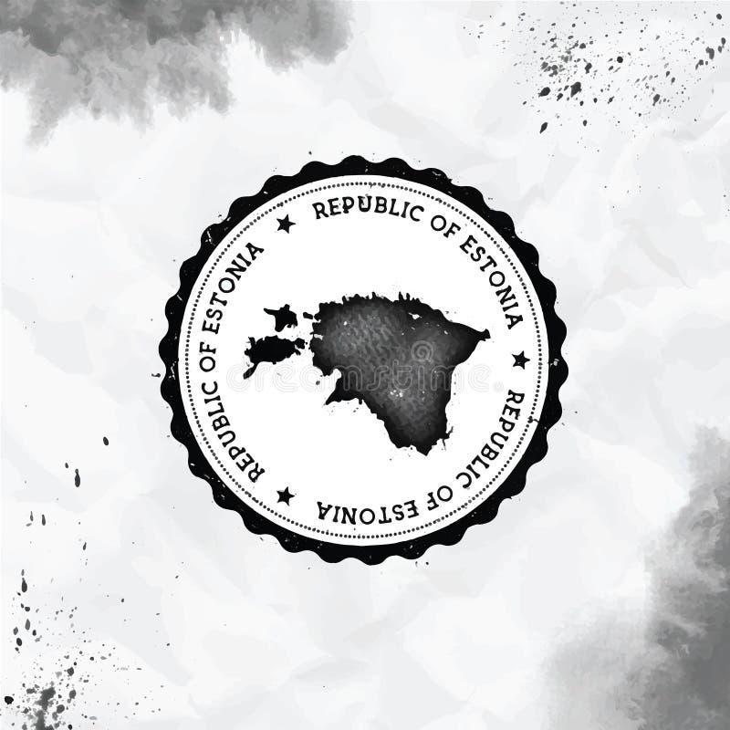 爱沙尼亚水彩圆的不加考虑表赞同的人与 库存图片