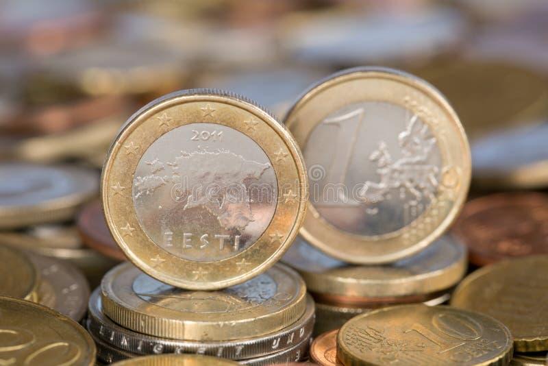 从爱沙尼亚的一枚欧洲硬币 免版税库存照片